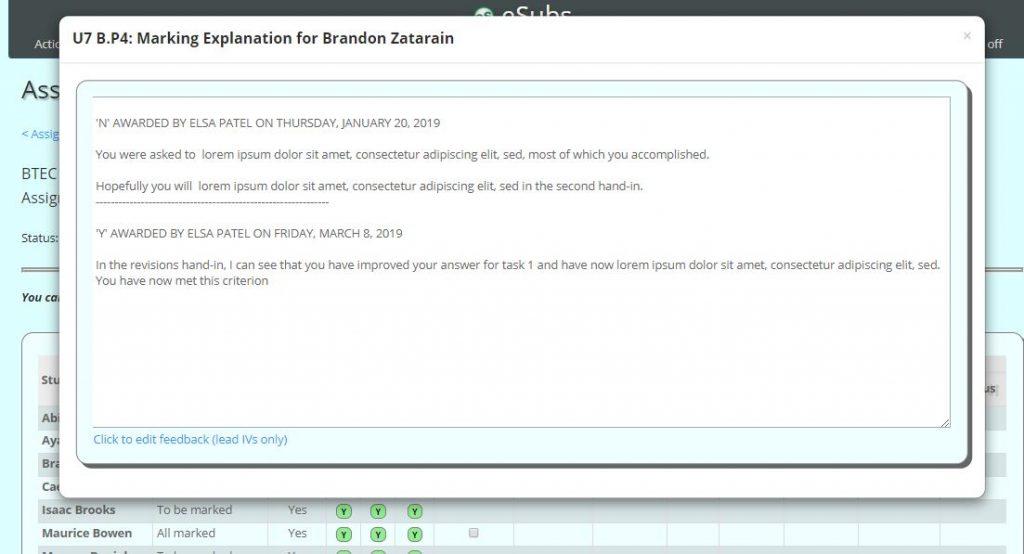 Screenshot of editing feedback